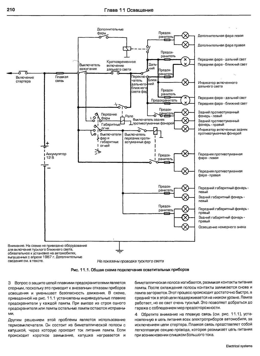 Схема сигнала не выключенных фар